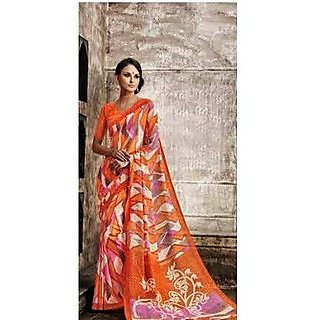 Zara Orange With Pink-Grey-White Print Chiffon Saree