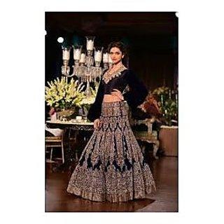 Richlady Fashion Deepika Padukone Net Sequins Work Blue Semi Stitched Lehnga Cho