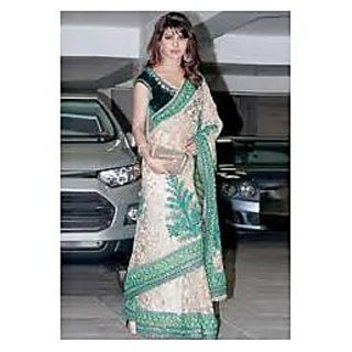 Richlady Fahion Priyanka Chopra Net Thread Work Beige & Green Saree