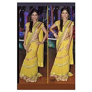 Richlady Fashion Shilpa Shetty Georgette Border Work Yellow Saree