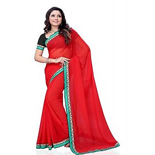 Aaliyah Red Saree With Designer Zari Embroidery And Blue Border