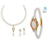 Oleva Combo Set Of 2 Ladies White Pearl Pendant Set With Ladies Pearl Watch OHD 84