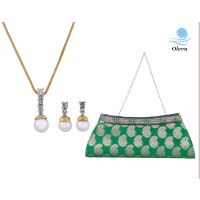 Oleva Combo Set Of 2 Ladies Pendant Set  With Emroidered Silk Clutch Bag   OHD 29