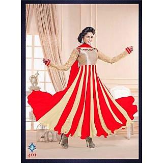 New Designer Red And Cream Anarkali Suit