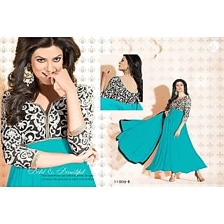 Sky Blue Georgette Designer Semi Stitch Salwar Kameez
