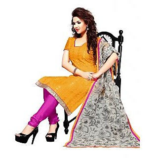 Outstanding Yellow & Pink Color Designer Churidar Salwar Kameez