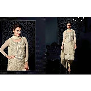 Net Cream Salwar Kameez Semi Stitched
