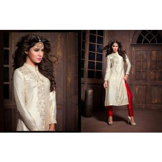 Silk Cream Salwar Kameez Semi Stitched