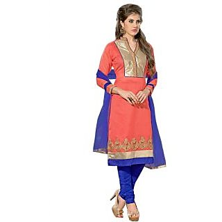 New Designer And Party Wear Peach And Blue Salwar Suit