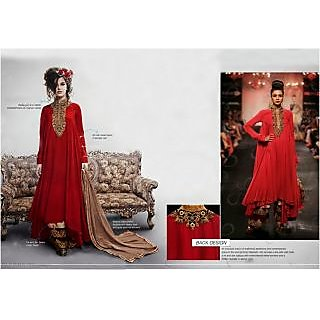 Designer Red Art Silk Salwar Kameez