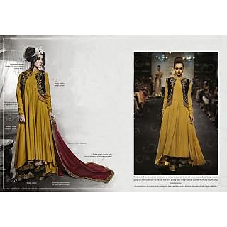Designer Mustard Art Silk Salwar Kameez