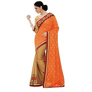 Beautiful Fancy Jacquard Orange Saree