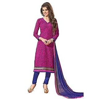 New Designer And Party Wear Blue And Rani Pink Salwar Suit