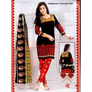 Ladies Salwar Kameez Unstitched Dress Material Black & Red