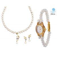 Oleva Combo Set Of 2 Ladies White Pearl Pendant Set With Ladies Pearl Watch OHD 80