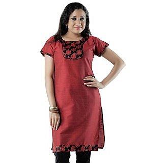 Cotton Red Women Casual Kurti HIFI12GRNH