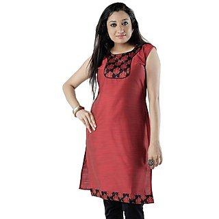 Cotton Red Women Casual Kurti HIFI14BLUS