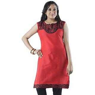 Cotton Red Women Casual Kurti HIFI27BLUF