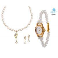 Oleva Combo Set Of 2 Ladies White Pearl Pendant Set With Ladies Pearl Watch OHD 83