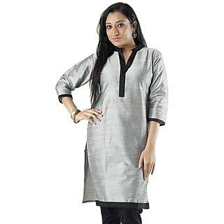 Cotton Grey Women Casual Kurti HIFI27BLUF