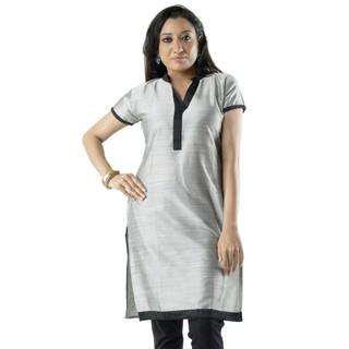 Cotton Grey Women Casual Kurti HIFI25GRYH