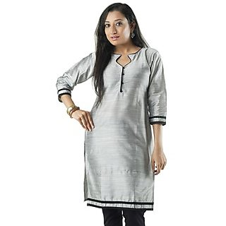 Cotton Grey Women Casual Kurti HIFI26GRYF