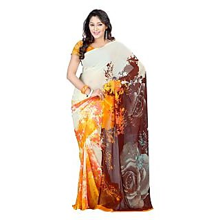 Yomeeto Faux Georgette Fabric Brown Colured Printed Saree