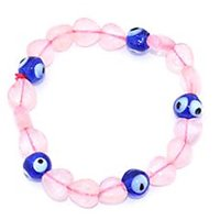 Kriti Feng Shui Heart Shaped Rose Quartz With Turkish Evil Eye Bracelet