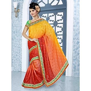 RnBalraj403B Fancy Georgette&Jacquard Embroidery Saree With Silk Blouse.