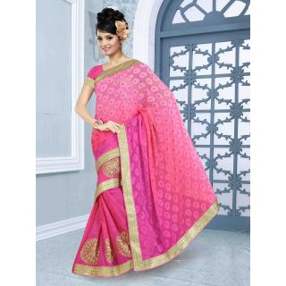 RnBalraj402B Fancy Georgette&Jacquard Embroidery Saree With Silk Blouse.
