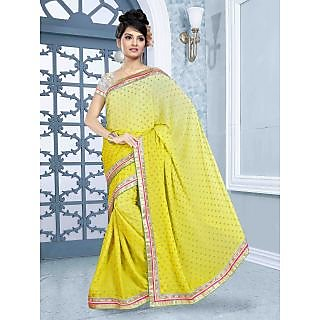 RnBalraj405A Fancy Georgette&Jacquard Embroidery Saree With Silk Blouse.