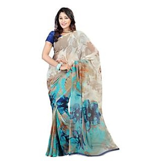 Yomeeto Faux Georgette Fabric Light Blue Colured Printed Saree
