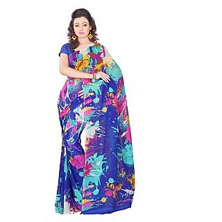 Lookslady Printed Blue & Pink Georgette Saree