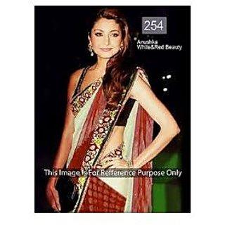 Richlady Fashion Anushka Sharma Net Border Work Red Saree