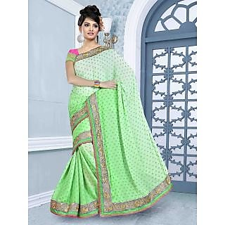 RnBalraj407B Fancy Georgette&Jacquard Embroidery Saree With Silk Blouse.