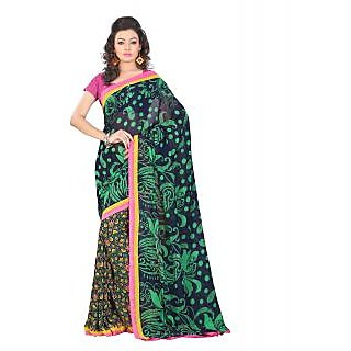 Lookslady Printed Dark Blue & Green Georgette Saree