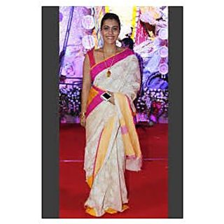 Richlady Fasion Kajol Cotton Silk White Printed Saree