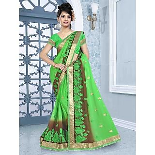 RnBalraj408A Fancy Georgette&Jacquard Embroidery Saree With Silk Blouse.