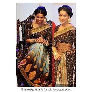 Richlady Fashion Bipasha Basu Net Machine Work Brown & Blue Saree