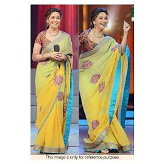 Richlady Fashion Madhuri Dixit Georgette Patch Work Yellow Saree