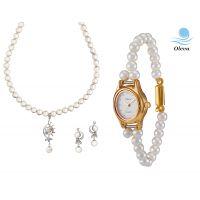 Oleva Combo Set Of 2 Ladies White Pearl Pendant Set With Ladies Pearl Watch OHD 76