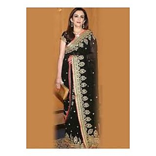 Richlady Fashion Nita Ambani Georgette Border Work Black Saree