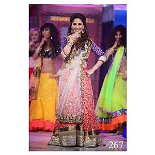 Richlady Fashion Madhuri Dixit In Red And White Lehnga Choli