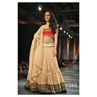 Richlady Fashion Shraddha Kapoor Net Machine Work Cream Semi Stitched  Lehnga Ch