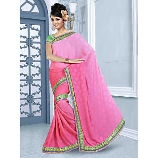 RnBalraj411A Fancy Georgette&Jacquard Embroidery Saree With Silk Blouse.