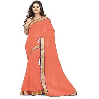 Amazing Peach Color Georgette Pattern Designer Full Saree With Blouse Piece - 75014670