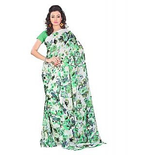 Lookslady Printed Beige & Light Green Georgette Saree