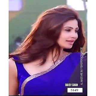 Daisy Shah Blue Color Bollywood Replica Designer Saree With Blouse Piece