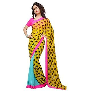 Guddus Collections Reversible Georgette Saree Black Blue And Yellow