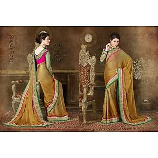 Brown Color Lace Work Jacquard Party Wear Saree